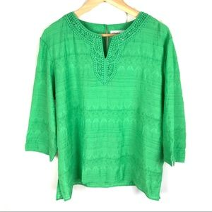 NEW! Alfred dunner 3/4 Sleeve Kelly green blouse